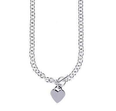 .925 Sterling Silver Rhodium Charm Link Heart Tag Toggle Necklace 18""