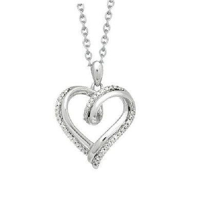 Sterling Silver Diamond Open Heart Charm Necklace Pendant 0.03ct 18""
