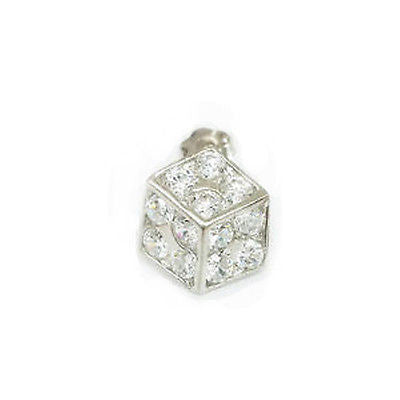 14K White Gold Dice CZ Stud Earring Single 10mm