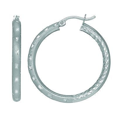 Sterling Silver Medium Tubular Dia-cut Round Hoop Hoops Earrings 2.5x35mm