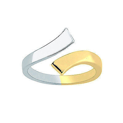 10K Yellow White Two Tone Gold Crossover Shiny Adjustable Ring or Toe Ring
