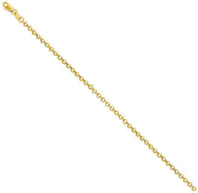 14K Real Yellow Gold Rolo Link Ankle Bracelet Anklet 10""
