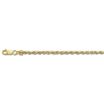 14K Solid Yellow Gold Rope Chain Necklace 1.25mm