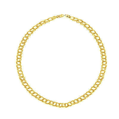14k Solid Real Yellow Gold Link Charm Bracelet 7 1/4""