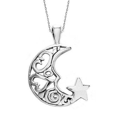 Sterling Silver Crescent Moon Heart Star Best Friend Charm Pendant Necklace 18""