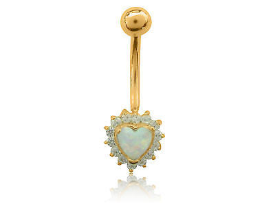 14k Yellow Gold Heart Cz Belly Ring Body Jewelry 25mm