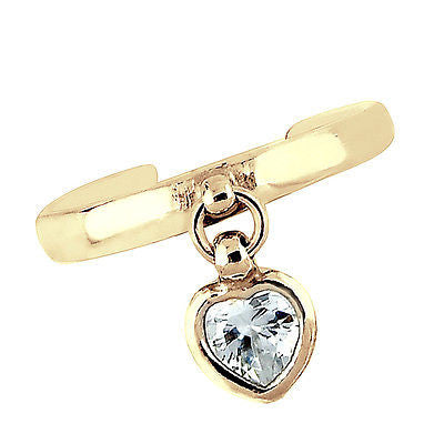 14K Solid Yellow Gold Dangle Heart CZ Toe Ring Adjustable New