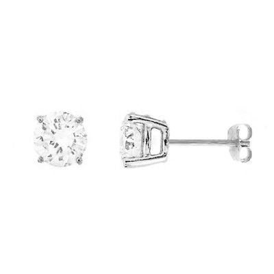 14K Solid White Gold 6mm CZ Stud Earrings 3 carat Basket setting