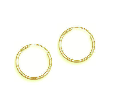 10K Yellow Gold Hoops Endless baby Hoop Earrings 10mm