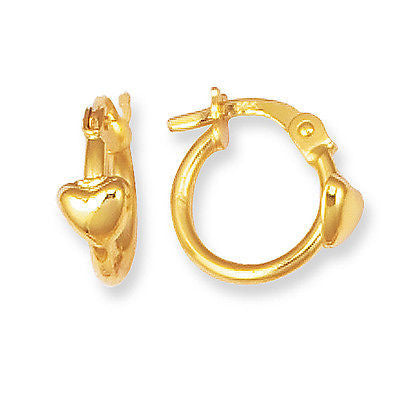 14K Real Yellow Gold Baby Heart Hoops Tubular Round Children Hoop Earrings