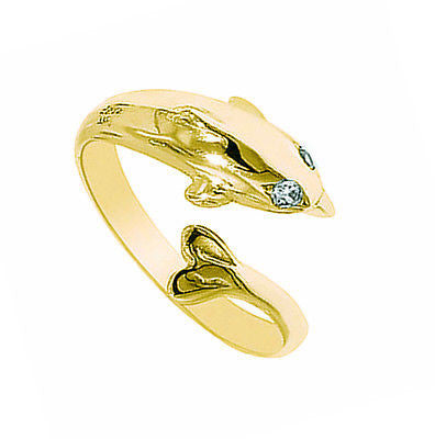 10k Solid Yellow Gold Cubic Zirconia Dolphin Adjustable Ring or Toe Ring