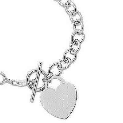 Sterling Silver Heart Tag Toggle Charm Bracelet  8""