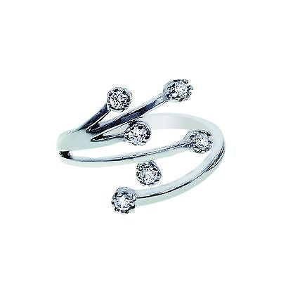 Sterling Silver Crossover Spray Cubic Zirconia CZ Adjustable Ring or Toe Ring