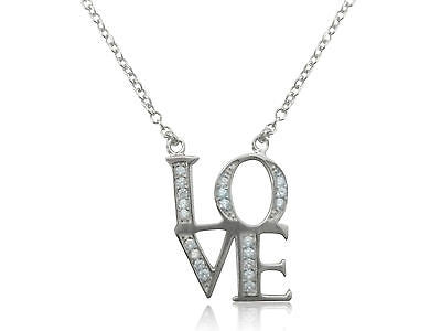 "Sterling Silver Love Valentines Cz Charm Pendant Necklace 16""-18"""