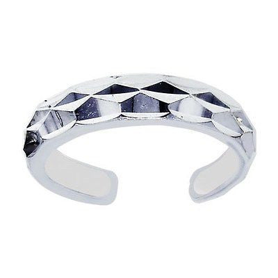 14K White Gold Sparkle Shiny Toe Ring Body Art Adjustable