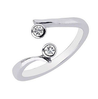 14K Solid White Gold Crossover CZ Adjustable Ring or Toe Ring