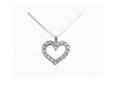 .925 Sterling Silver Diamond Heart Necklace 0.10ct Pendant Necklace 18""