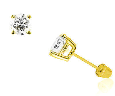 14k Solid Gold 8mm Cubic Zirconia Stud Earrings 4ct Basket Setting Screw Back
