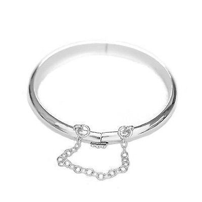 Sterling Silver Shiny Polished Finish Bangle Bracelet with Safety Chain (Front and Back Engraving)
