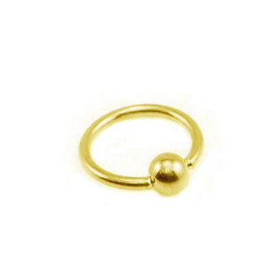 14K Solid Yellow Gold Captive Ball Closure Bead Nipple Ring Body 16 gauge