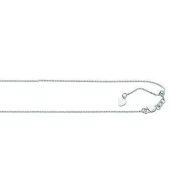 10K White Gold Adjustable Box Chain 0.85mm Necklace 16-22""