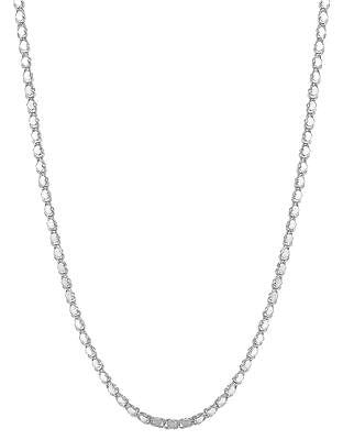 "14K White Gold Mirror Heart Link Necklace 2.9mm 16"",18"""