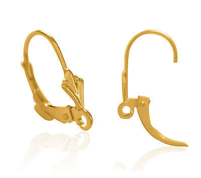 14K Yellow Gold Fleur de Lis Lever Back Ear Wire with Open Ring