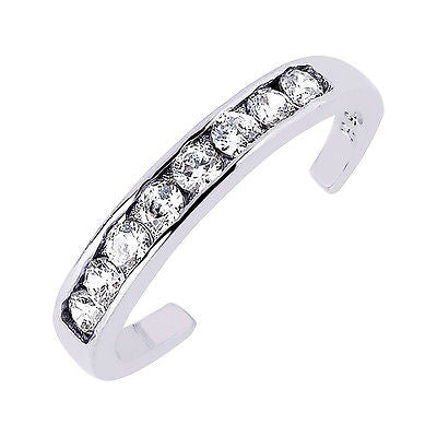 14K Solid White Gold Band Chanel set CZ Toe Ring adjustable