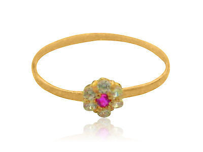 14k Children's Gold White Pink Flower CZ Baby Ring Band Kids Sz 3
