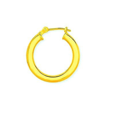 14K Solid Gold Men's Single Tubular Hoop Earring Unisex Huggy 14mm Unisex