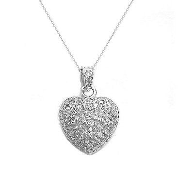 .925 Sterling Silver CZ Heart Love Charm Pendant Necklace 18""