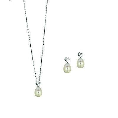 Sterling Silver Fresh Water Cultured Pearl CZ Teardrop Necklace & Earrings Set