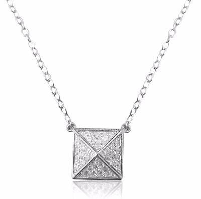 Sterling Silver Cz Pyramid Geometric Triangle Charm Necklace 18""