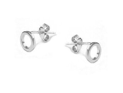 Sterling Silver Round Circle O Stud Earrings 7mm