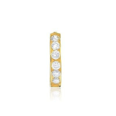 14K Solid Gold Single Huggie Huggy Hoop 2.4x13.2mm CZ Channel Set Earring Unisex