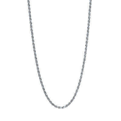 "Sterling Silver Rope Chain 1.4mm Dia Cut Necklace 16"" 18"" 20"" 22"" 24"""