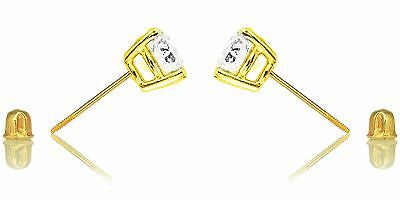 14k Solid Gold 7mm Cubic Zirconia Stud Earrings 3ct Basket Setting Screw Back
