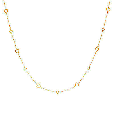 14K Solid Gold Sideways Heart Chain Long Station Chain Necklace 36""