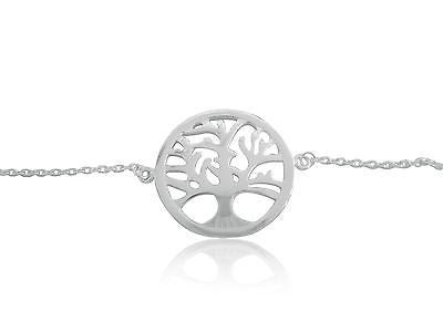 "Sterling Silver Tree Of Life Charm Bracelet 7-7.5"" Adjustable"