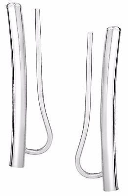 14k White Gold Ear Climber Curved Bar Earrings 23mm