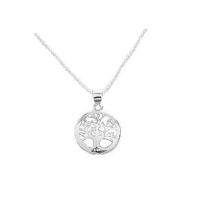 Sterling Silver Tree Of Life Pendant Charm Necklace 18""
