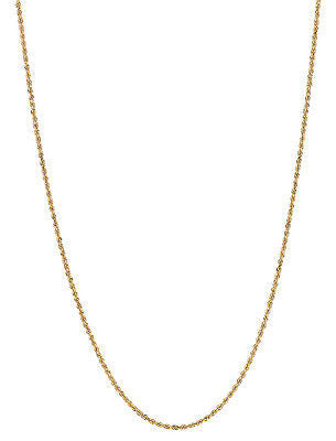"10K Solid Yellow Gold Rope Chain Necklace 16"",18"", 20"", 22"", 24"" 1.25mm"