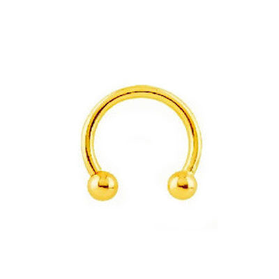 14k Solid Gold Eyebrow Nose Nipple Ring Barbell Horse Shoe Body Jewelry 16 Gauge