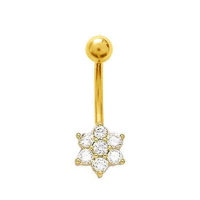 14k Real Gold Yellow Flower Belly Button Navel Ring CZ