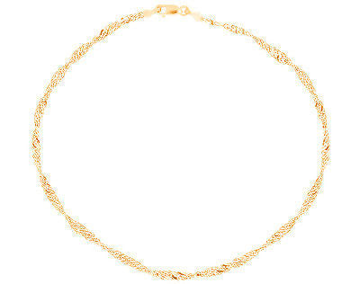 "10K Yellow Gold Singapore Bracelet 7"" 1.5mm"
