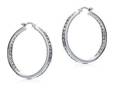 .925 Sterling Silver Large CZ Hoops Inside Out Hoop Earrings 35mmx3.5mm
