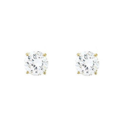 14K Solid Gold 7mm CZ Stud Earrings 3 Carat TW Basket Setting earrings