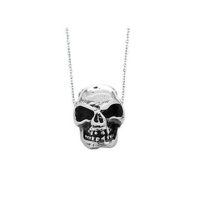 "Sterling Silver Skull Gothic Polished Charm Pendant 18"" Necklace Chain"