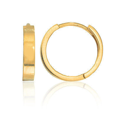 14K Real Gold Huggy Huggie Hoops Hoop Earrings 13mm 1/2 inch