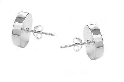 .925 Sterling Silver Shiny Disc Geometric Round Stud Post Earrings 14mm